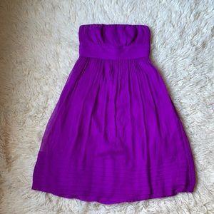 J.Crew purple silk strapless dress Sz 6